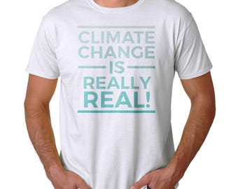 Climate Change Is Really Real Degraded Print Men's White Environment T-shirt