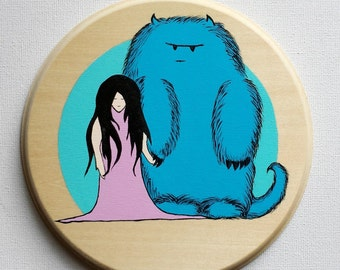 A Girl and Her Monster - Original Acrylic Painting on Wood