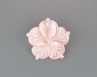 14mm carved pink shell flower gem stone gemstone