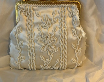 Vintage Satin and Pearl purse