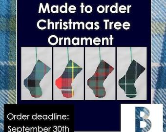 Tartan stocking ornament, Tartans beginning with B, Baillie, Baird, Bisset, Blair, Borthwick, Bowie, Boyd, Brodie, Bruce, Buchanan