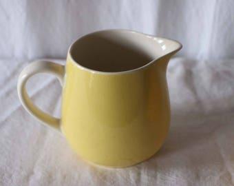 Vintage Yellow Ceramic Jug / vintage french jug / vintage pitcher / vintage pottery / vintage earthenware jug / vintage farmhouse decor