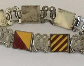 Sale Vintage Enamel and Sterling Nautical Link Bracelet signed His Lordship Prod. Co. Ster. Signal Flags I Love You Kissing Seahorses