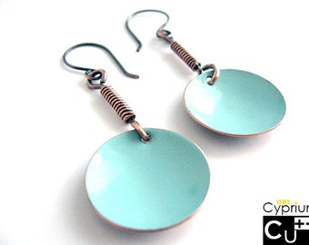 Handmade earrings/Dangle earrings/Enamelled earrings/Turquoise earrings/Copper earrings