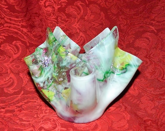 Confetti Art Glass Kerchief Handkerchief Sculpture Vase - Votive Candle Holder