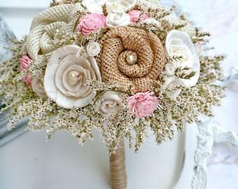 Pink Wedding Bouquet // Pink Bridal Bouquet, Rustic, Dried Flowers, Burlap Bouquet, Wedding Flowers, Sola Flower Bouquet, Bridal Flowers