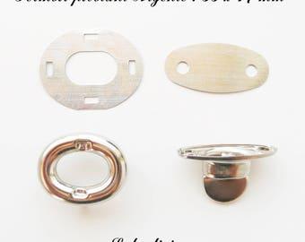 Fermoir pivotant Ovale Tourniquet de sac / Pochette / Porte-feuille Argenté : 33 x 17 mm