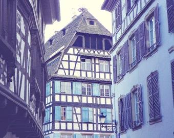 Blue Fackwerkhaus, France Photography, Fackwerk Architecture, Travel Photography, Art Print, Wall Decor
