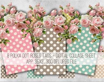Roses Tags Digital Collage Sheet Download - 967 - Digital Paper - Instant Download Printables