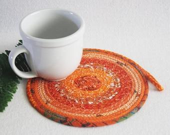 Fabric Coiled Mat / Mug Rug / Trivet / Hot Pad / Orange Bohemian Round by PrairieThreads