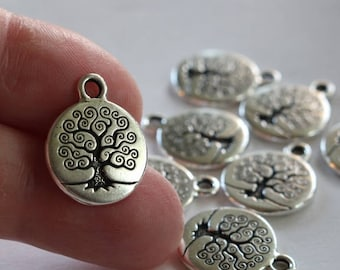 Silver Tree of Life Charms, 2 or more, TierraCast 15mm Antiqued & Plated Pewter Small Pendants, Lead Free Bodhi Trees