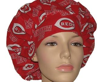 Scrub Hats - Cincinnati Reds Fabric