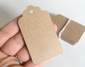20 blank scalloped kraft tags  - gift wrapping tags - wedding tags - packaging tags - gift tags - wedding favor tags - small kraft tags