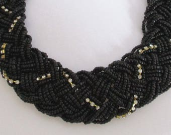 Vintage Black Seed Bead w/ Rhinestones Woven Braided Necklace