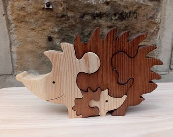 Mother and Baby Hedgehogs Wooden Puzzle