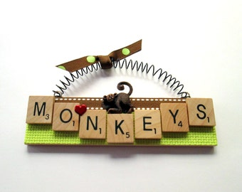 Monkey Love Monkeys Scrabble Tile Ornament