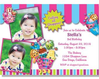 Shopkins Photo Birthday Invitations - Digital File