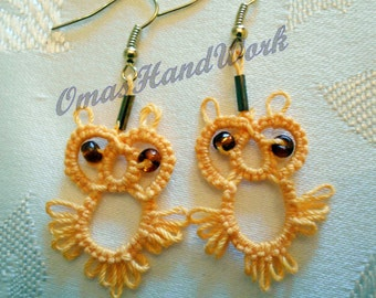 Owl Tatted Earrings with bead eyes, lacy earrings, beaded tatting, blue, or yellow