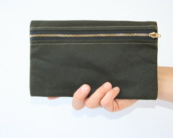 Dark Green Waxed Canvas Zip Pouch