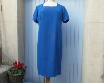 Handmade silk dress, size L royal blue shift dress, little blue dress, vintage clothing, retro clothes, wedding outfit, french vintage dress
