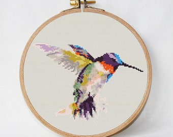 cross stitch bird Hummingbird Cross Stitch Pattern pdf watercolor Instant Download