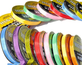 18 rolls - WHOLESALE RIBBON -  100-yds Roll 1/2inch Wide Hug Snug Assortment Color - 100 percentage Woven-edge Rayon - made in USA
