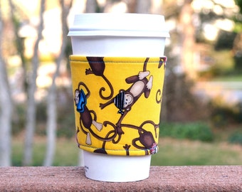 FREE SHIPPING UPGRADE with minimum -  Fabric coffee cozy / cup sleeve / coffee sleeve  -- Funny Monkeys
