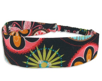 """Fabric Headband - Carnival Bloom - Pick your size - fit toddlers to adults - 1-1/2"""" wide"""