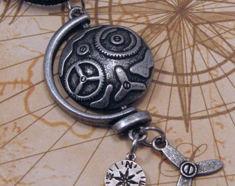 Steampunk Pewter Globe Pendant with Propeller and Compass Charms, Steampunk Necklace, Travel Pendant, Steampunk Jewelry, Gift for Her