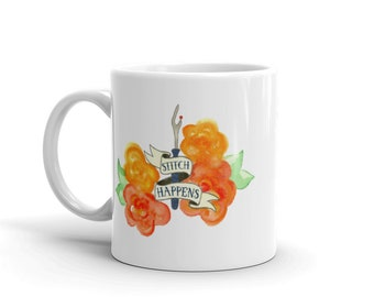STITCH HAPPENS MUG coffee mug funny sewing gift love to sew seam ripper quote saying watercolor print tea cup quilting gift printed mug