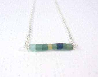Roman Glass Jewelry, Ancient Roman Glass Necklace, Green Glass Necklace, Minimalist Necklace, Layering Necklace, Glass Bar Necklace