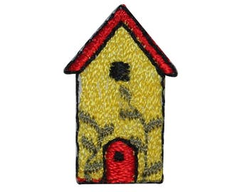 ID 3129 Lot of 3 Sunny Bird House Patch Nest Home Embroidered Iron On Applique