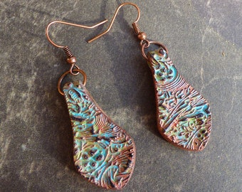 Copper and patina acanthuus polymer clay earrings