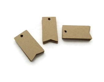 Mini Tags - Hang Tags - 100 Count - 1.25 x 0.6 inches - Kraft Tags - Die Cut Tags - Product Tags - Scrapbook Tags - Jewelry Tags