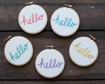 Embroidery Hoop Art - Say Hello Embroidery Art in 4-inch Hoop - Pop - Neon Colors