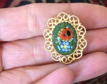 Vintage micromosaic filigree brooch