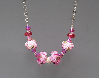 Pink Flower Necklace - Rose Lampwork Glass Bead Necklace - Gifts for Gardeners