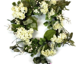 "28"" Hydrangea and White Berry Wreath"