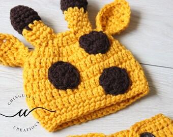 Baby Crochet Giraffe Hat Newborn Giraffe Outfit Yellow Mustard and Brown Giraffe Hat