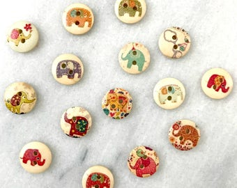 Wooden Elephant Buttons - Set of 15