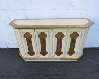 Hollywood Regency Painted Console Table Buffet with Distress Gold Leaf 7419