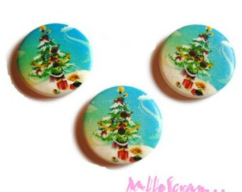 Set of 3 large buttons decorated Christmas 30 mm scrapbooking embellishment 7 *.