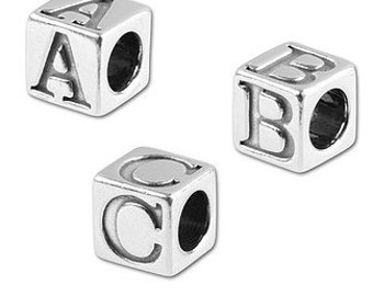 5 mm Sterling Silver Alphabet Beads - Minimum Order of 4 Beads