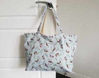 Ready Made Handmade Tote Bag Hand Bag Shopping Bag Playful Otters - Lewis & Irene Fabric Blue