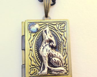 Werewolf Locket Necklace, (with blue moon,) Swarovski Crystal, 3D Book Locket, Vintage Findings, Hand Crafted Gift