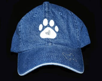 Denim hat with Paw print with rhinestones and dog bone on brim embroidery