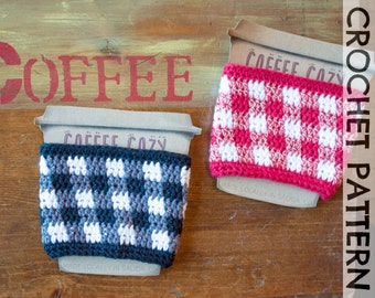 CROCHET PATTERN: Gingham Coffee Cup Cozy