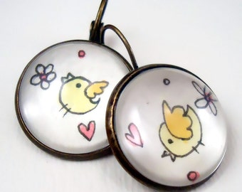 Bird Earrings - Whimsical Art - Hand Painted Jewelry