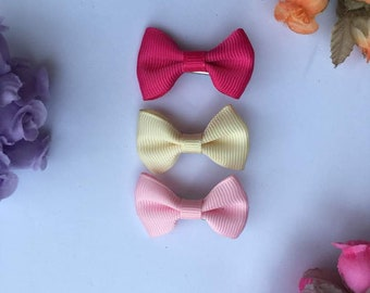 Mini bows Unicolor and Patterned, Girls mini bows, Toddler mini bows, Little size bow, Hair accessories, Baby little bow