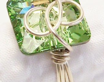 Green Swarovski Crystal Wire Wrapped Ring with Sterling Silver, Swarovski Chrysolite Peridot Button Crystal Jewelry
